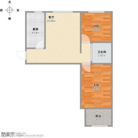 门头沟新区2室1厅1卫1厨60.00㎡户型图