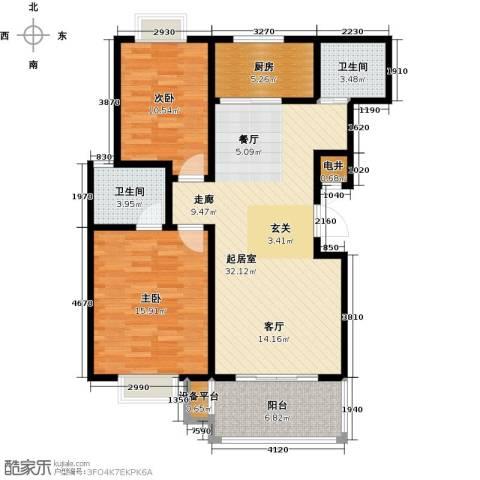 四季花城2室0厅2卫1厨91.00㎡户型图