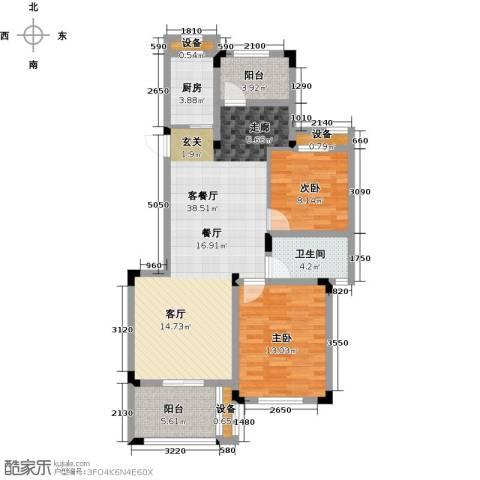 玲珑湾2室1厅1卫1厨90.00㎡户型图