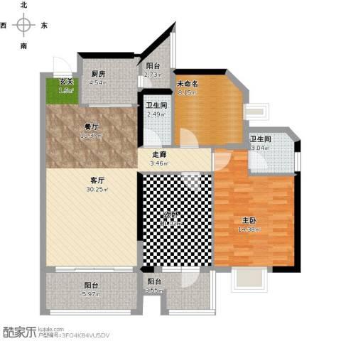 丹梓龙庭2室1厅2卫1厨122.00㎡户型图