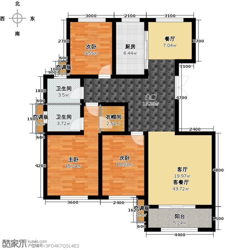 河泰山庄139.00㎡户型3室2厅2卫