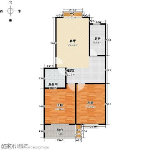 滨海花园2室0厅1卫1厨89.00㎡户型图