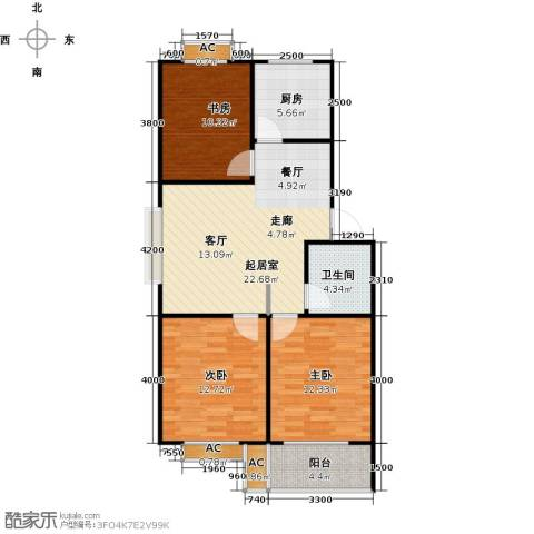 滨海花园3室0厅1卫1厨89.00㎡户型图