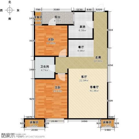 抚顺万达广场2室1厅1卫1厨117.00㎡户型图