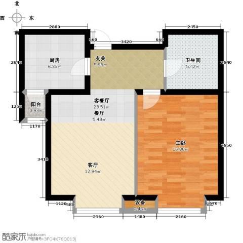 通用富馨佳苑1室1厅1卫1厨61.00㎡户型图