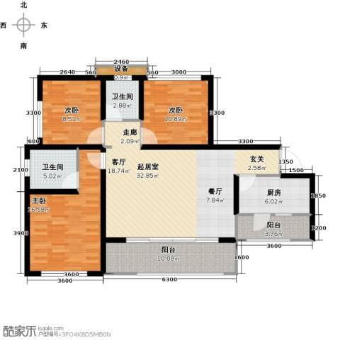 三江国际丽城C区.澜岸3室0厅2卫1厨127.00㎡户型图
