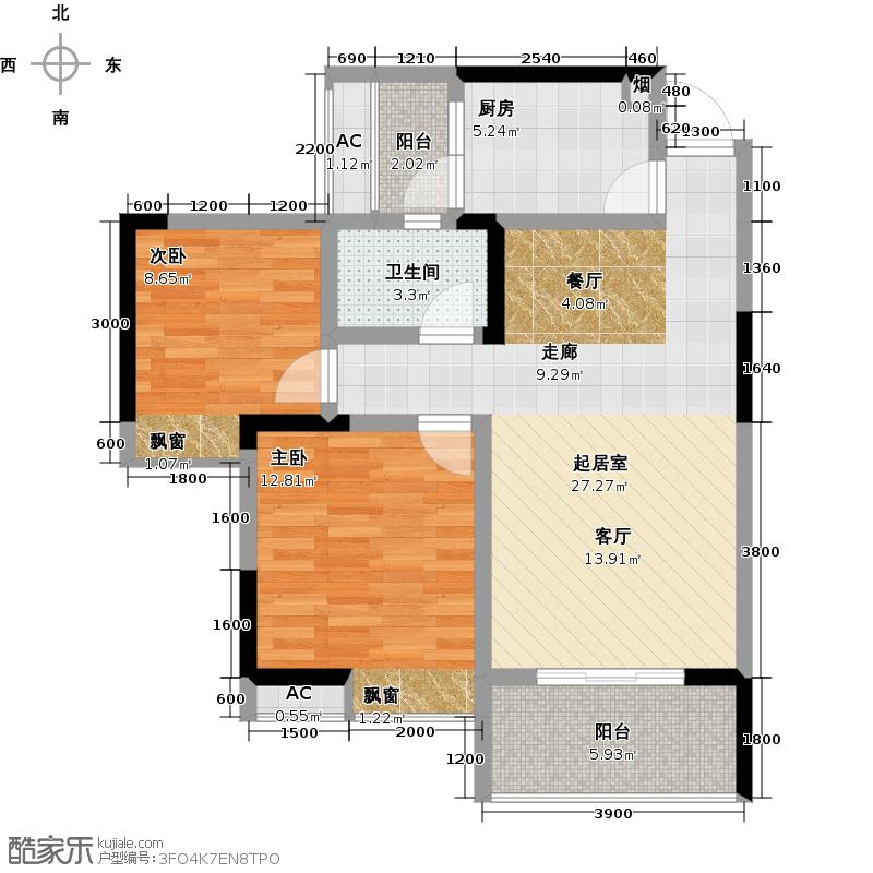 远达龙湖半岛84.03㎡龙湖半岛84.03平米两室两厅单卫F1户型2室2厅1卫