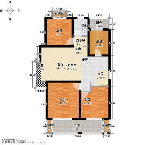 绿地高铁东城3室0厅1卫1厨105.00㎡户型图
