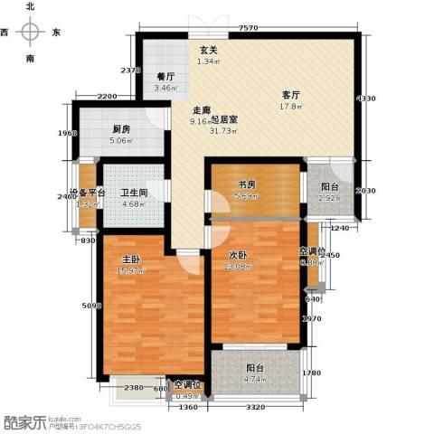 君廷湖畔3室0厅1卫1厨126.00㎡户型图