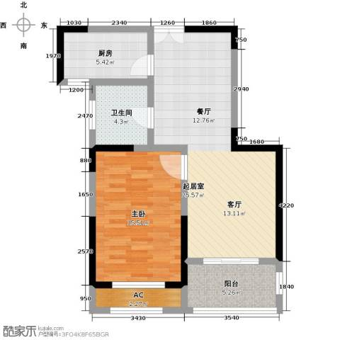 美林湖・水岸枫情1室0厅1卫1厨68.00㎡户型图