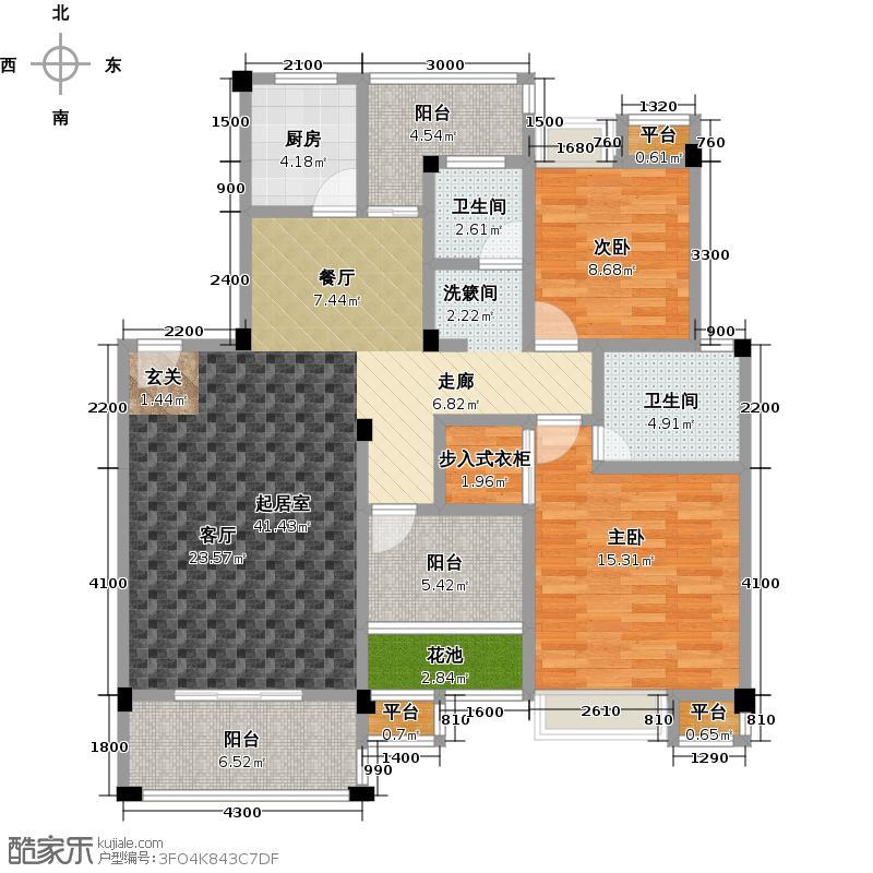 益阳印象113.89㎡(阳台型)户型2室2厅2卫