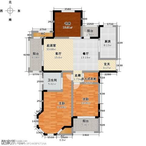 美林湖・水岸枫情3室0厅1卫1厨126.00㎡户型图
