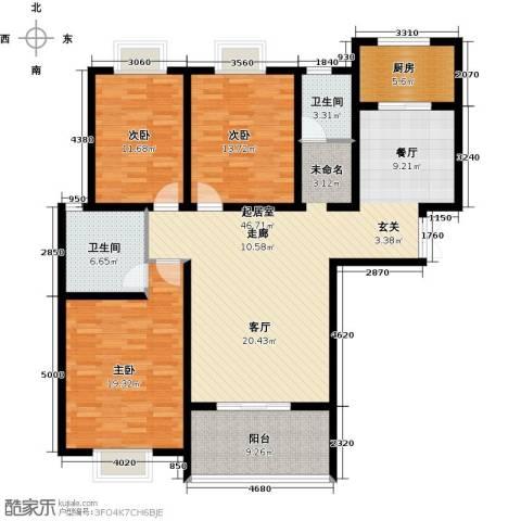 君廷湖畔3室0厅2卫1厨165.00㎡户型图