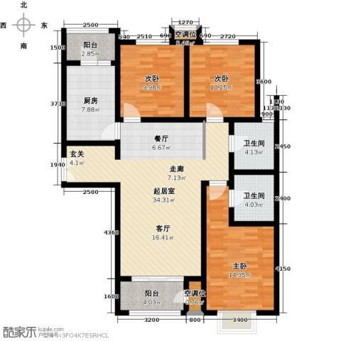远洋海世纪3室0厅2卫1厨138.00㎡户型图