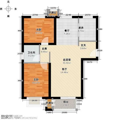 远洋海世纪2室0厅1卫1厨96.00㎡户型图