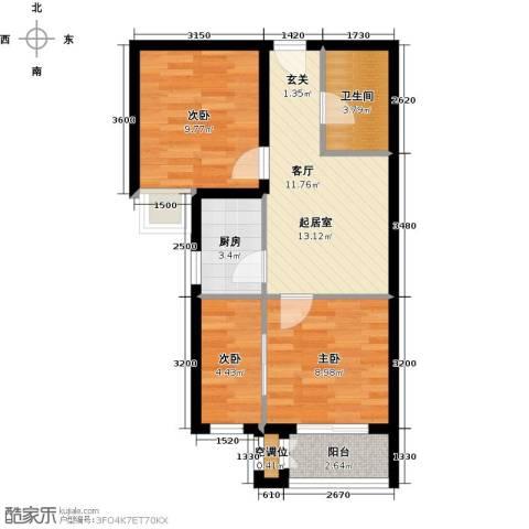 远洋海世纪3室0厅1卫1厨72.00㎡户型图