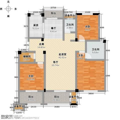 恒佳太阳城3室0厅2卫1厨121.00㎡户型图