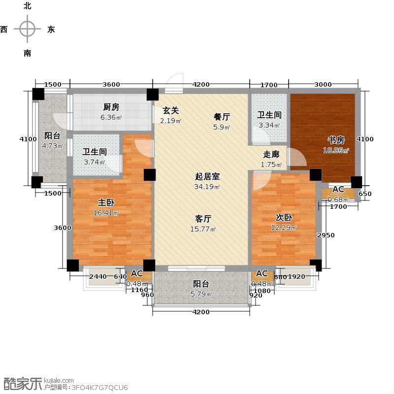 中民阳光城户型3室2卫1厨