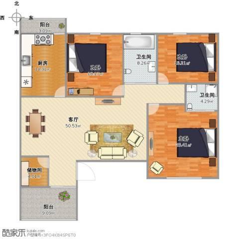 北苑馨居3室1厅2卫1厨202.00㎡户型图