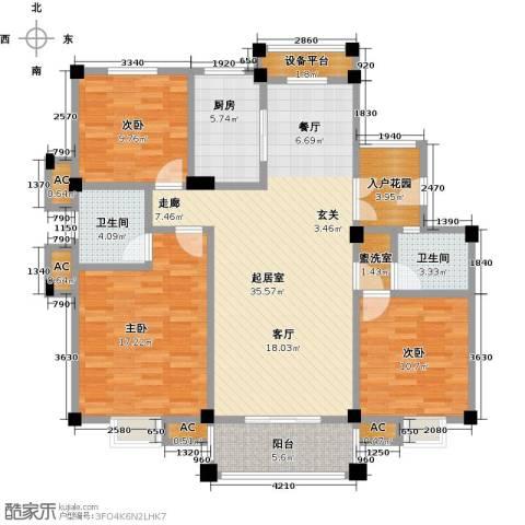 鸿地凰庭3室0厅2卫1厨118.00㎡户型图