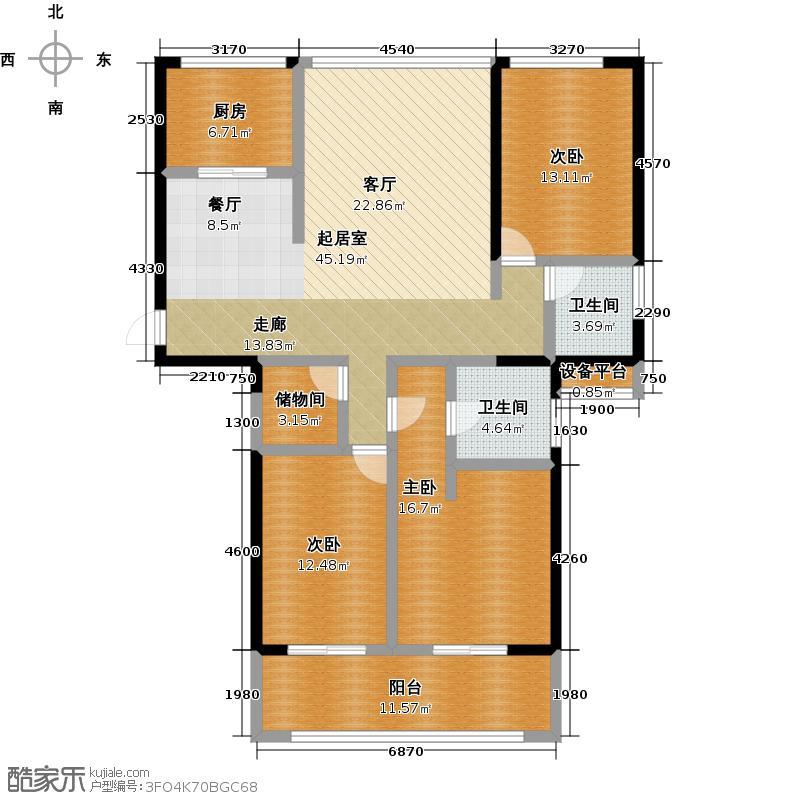 上东曼哈顿136.00㎡1# E户型3室2厅2卫