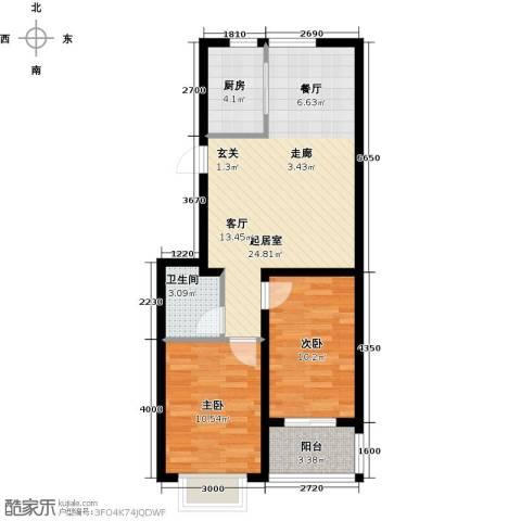 戴河香堤2室0厅1卫1厨80.00㎡户型图