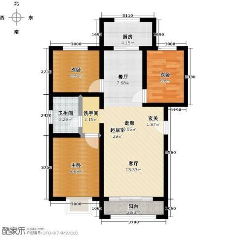 东方嘉苑二期3室0厅1卫1厨88.00㎡户型图