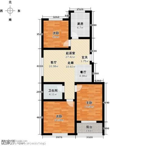 怡和新天地3室0厅1卫1厨92.00㎡户型图