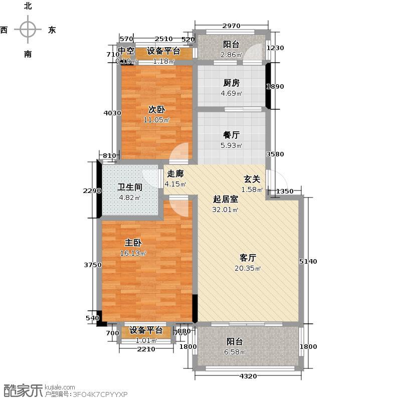 滨江新城户型2室1卫1厨