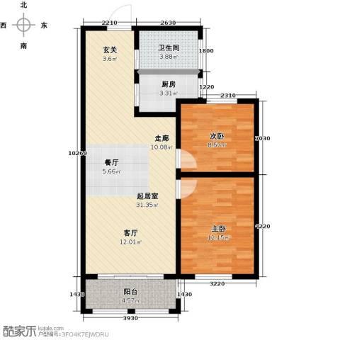 滨城美院2室0厅1卫1厨90.00㎡户型图