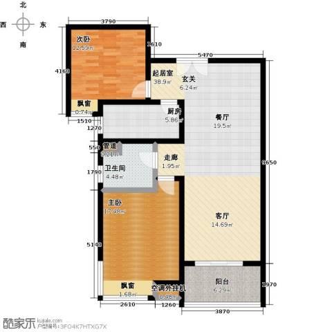 鼓楼上城2室0厅1卫1厨96.00㎡户型图