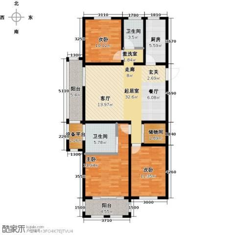 滨城美院3室0厅2卫1厨140.00㎡户型图