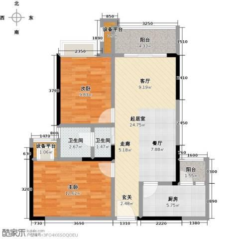 卓信金楠天街2室0厅2卫1厨84.00㎡户型图