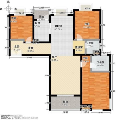 鼓楼上城3室0厅2卫1厨132.00㎡户型图