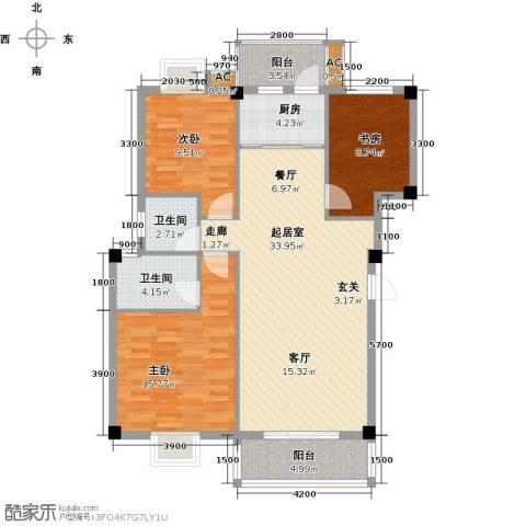中民阳光城3室0厅2卫1厨124.00㎡户型图