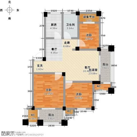 鸿地凰庭3室0厅1卫1厨86.00㎡户型图