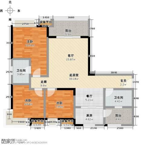 卓信金楠天街3室0厅2卫1厨108.00㎡户型图