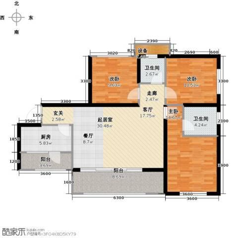三江国际丽城C区.澜岸3室0厅2卫1厨130.00㎡户型图