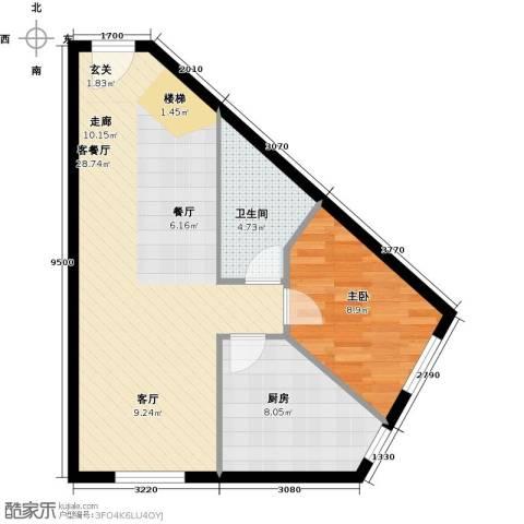 汇雄时代1室1厅1卫1厨70.00㎡户型图