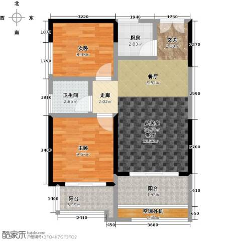 嘉龙尚都2室0厅1卫1厨83.00㎡户型图