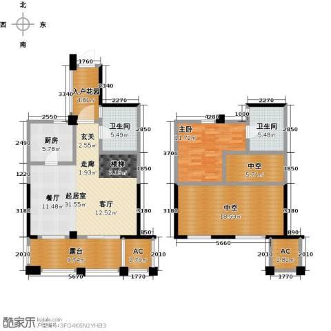 鸿地凰庭1室0厅2卫1厨104.82㎡户型图