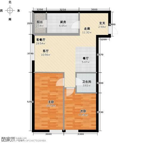 汇雄时代2室1厅1卫1厨96.00㎡户型图