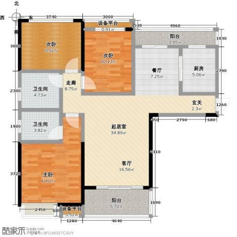 新城壹号3室0厅2卫1厨135.00㎡户型图