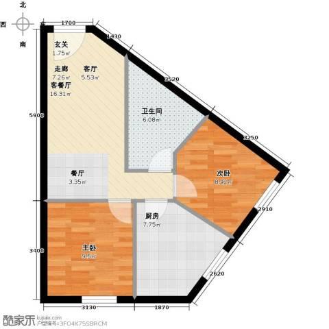 汇雄时代2室1厅1卫1厨67.00㎡户型图