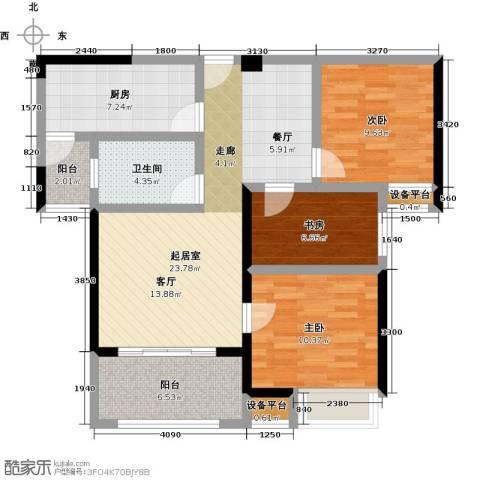 上东曼哈顿3室0厅1卫1厨85.00㎡户型图