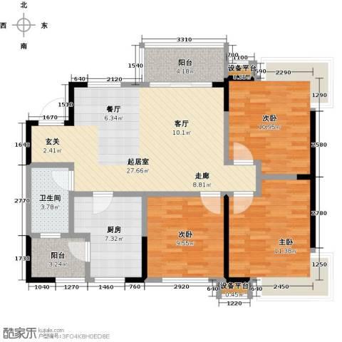 卓信金楠天街3室0厅1卫1厨112.00㎡户型图
