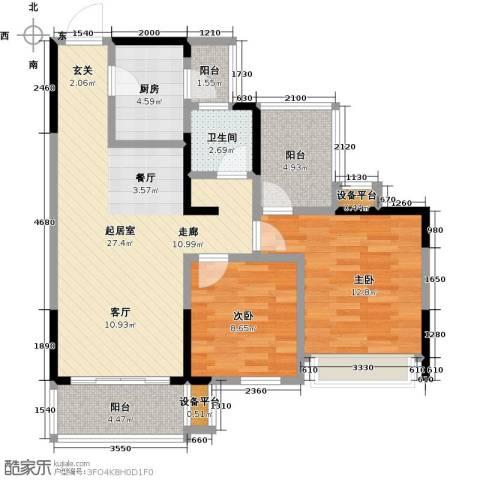 卓信金楠天街2室0厅1卫1厨98.00㎡户型图