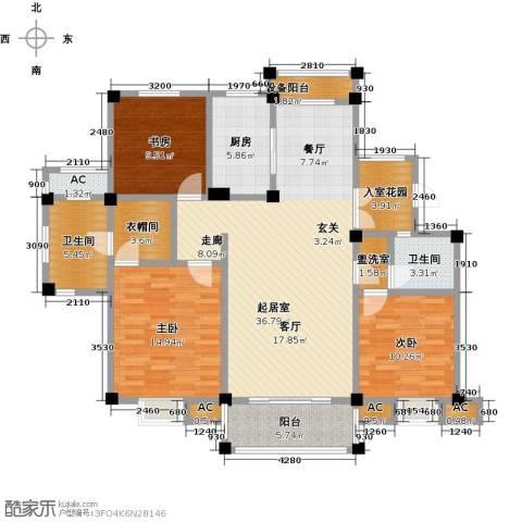 鸿地凰庭3室0厅2卫1厨124.00㎡户型图
