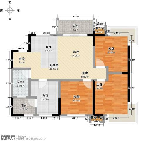 卓信金楠天街3室0厅1卫1厨107.00㎡户型图
