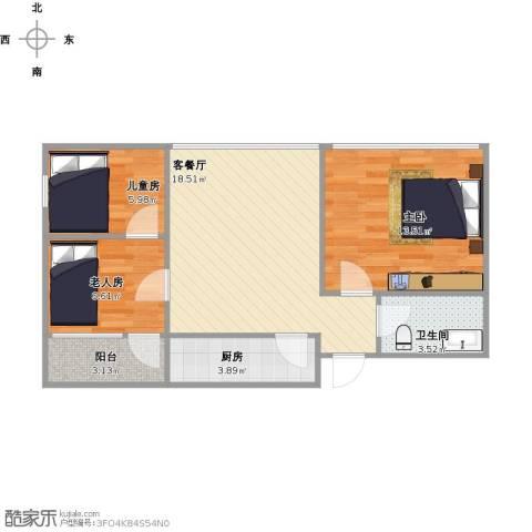 知春路52号院3室1厅1卫1厨75.00㎡户型图